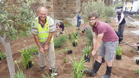 Nigel Powell Chairman of Hayle In Bloom with Princes Trust volunteer Ben